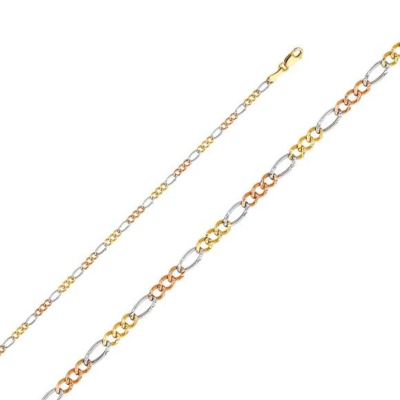 """TGDJ Other - 14K Tri Color 2.6mm Figaro 3+1 Concave bracelet-7"""""""